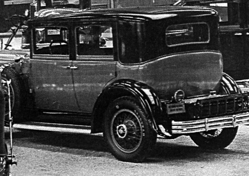 "From the 1929 Annual AutoShow in Lafyette, IN:  Norm McKendry noticed that a 1929 Buick coach (likely a model 51) was sporting a set of raised white letter Goodyear tires. ""I have never seen these tires on any other new 1929 Buick and none of the other Buicks in the photo have them. (Ed. Note: Buick used Goodrich.) I assume the dealer thought theses tires enhanced the sales appeal of this particular model."" (Ed. Note:  Only other 29's I've seen Goodyear tires on were the Flxible cars that towed the Goodyear blump.)  Note: late hubcaps"