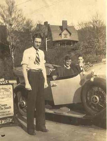 Three Men at Ice Cream Stand w/ 29 Buick Phaeton