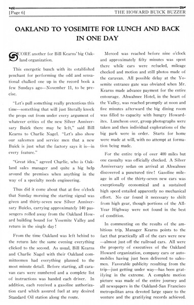 Description of the 37 - 1929 Buick tour by thge Howard Dealership in Oakland, CA.