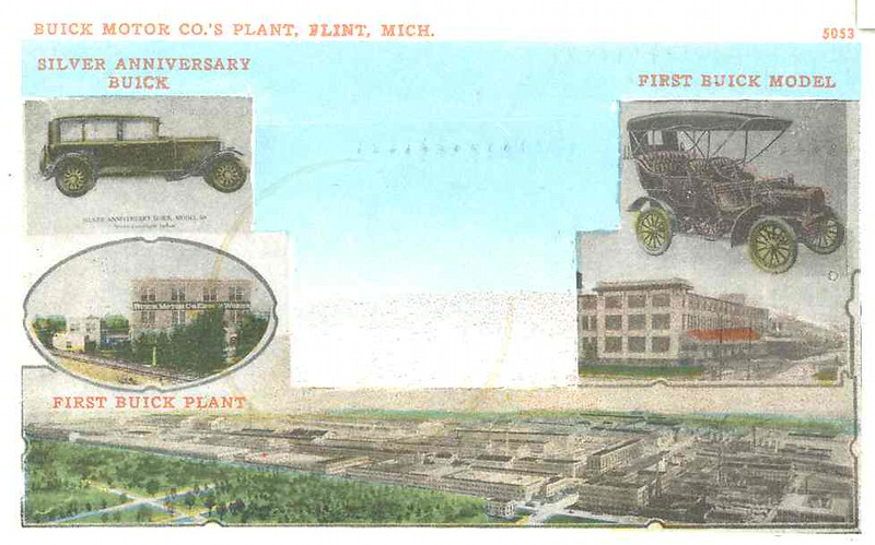 1929 Postcard showing 1st Buick Model and factory as well as the latest 1929 Buick model 50 along with the much expanded plant, 25 years later.
