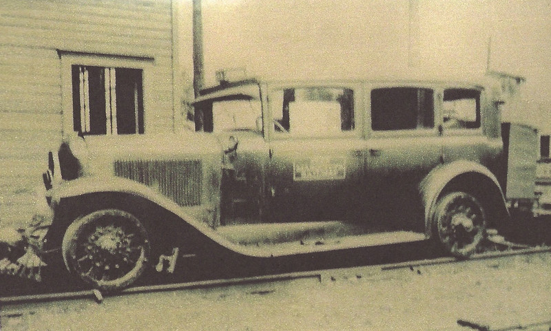 """Track Inspection Vehicle (129"""" wheelbase model 50 or 57) in Holland MI train station.  From the Pere Marquette Railroad"""