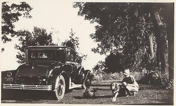 1929 Coupe w/ woman & dog