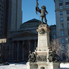 Statue of Paul Chomedey de Maisonneuve, who is the founding father of Montreal, at 1642 Place d'Armes in old Montreal, today.  See last picture for McLaughlin Buick's use of this statue in promotional brochure