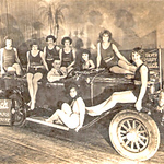 """(1 of 3).  The above photo, featuring the new 1929 Buick, model 29-25 with Holden body, is courtesy of Vickie Dibble, George Tannerhills' granddaughter (Vickie Dippel Family Album), John Gerdtz (who wrote the story) and John Forster (who published the story) and the Pre-War Buick Magazine.  George Tannerhill was working, likely for the Stewart Body Company in Flint, MI, which was also owned by GM, when he was seconded to Holden Motor Body Builders of Adelaide, Australia in 1928.  GM purchased HMBB in 1931 and George returned to work at Fisher Body in Detroit.   The professional photo is from George's collection.  It has a risqué presentation for 1929.  Not seen previously, and judging by the nature of its content, it is unlikely that it was used in any media material. It is thought to have been posed at the 1929 Silver Anniversary Buick dealer's release function, which likely would have been a very """"blokey"""" affair.   It was first assumed that the National Dealer release conference was held in Adelaide, however recent research strongly suggests it was held at or near Fishermans Bend, which was GM's Australian HQ and later Holden's HQ. We now know George Tannerhill was reposted to Fishermans Bend for approximately the last 18 months of his stay in Australia.  Further information from Rick Beazley:  This photo was taken on the 17 November 1928 at West's Picture Theatre in Hindley Street, Adelaide, South Australia. The new Silver Anniversary Buick was officially announced on the 31 October 1928 Australia wide. An article in The Advertiser (Adelaide) 17 November 1928 states that the first local Silver Anniversary Buick had just been sold and that """"a Buick car will be taken on the stage at West's Pictures today in connection with the ballet"""".   Yes the photograph was published in the newspapers. The Advertiser (Adelaide) printed it on the 24 November 1928 with the tile """"The Buick Ballet"""". It states """"the clever ballet at West's Pictures has scored a success this week with """