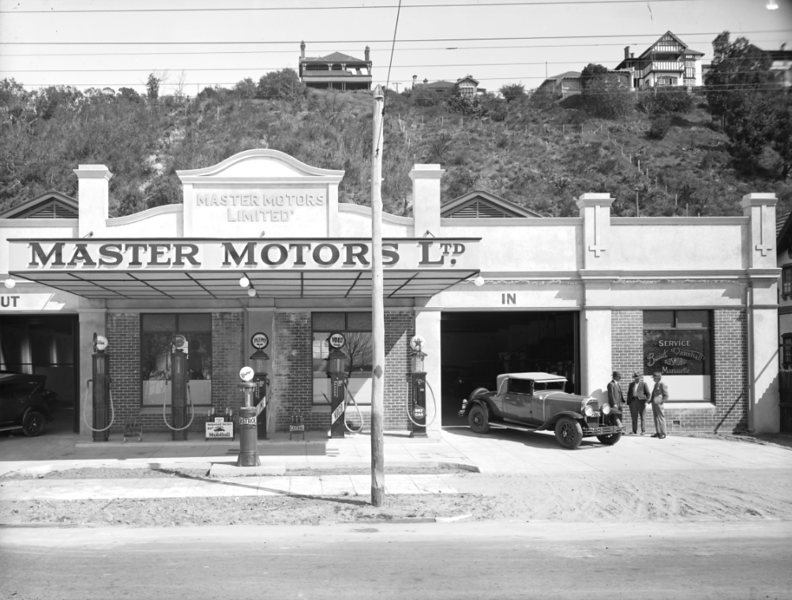 Pic. #1 of 7 (sent by Rick Beazley): Perth, Western Australia Buick (and Marquette), Oldsmobile & Vauxhall dealership's new service station built mid-1929. This was originally ED Toe Motors but became Master Motors during the year. This dealership served all of Western Australia at the time. These photographs were originally published in Oct. 1929.  Of interest; the first photo shows the first of three known 29-54CCX Buick's sold in WA. This is an early series model, probably in Distingue Blue/Cairo Green. You will notice local manufactured bumpers as these export RHD models did not provide factory bumpers.