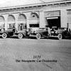 Marquette Dealership circa 1929 in Flint, MI, USA.  Note: Six 1929 Buick Roadsters (29-44)
