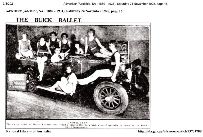 """(2 of 3).  Further information from Rick Beazley:  The original photo (1 of 3) was taken on the 17 November 1928 at West's Picture Theatre in Hindley Street, Adelaide, South Australia. The new Silver Anniversary Buick was officially announced on the 31 October 1928 Australia wide. An article in The Advertiser (Adelaide) 17 November 1928 states that the first local Silver Anniversary Buick had just been sold and that """"a Buick car will be taken on the stage at West's Pictures today in connection with the ballet"""".   The photograph was published in the newspapers. The Advertiser (Adelaide) printed it on the 24 November 1928 with the tile """"The Buick Ballet"""". It states """"the clever ballet at West's Pictures has scored a success this week with a novel specialty in honor of the Buick Silver Anniversary"""".   The photo was used again, slightly modified, in the Sunday Times (Sydney, New South Wales) on the 23 December 1928 with the title """"Demonstrating The Fine Points of Buick"""". The comment reads; """"a bunch of beach girls giving the new Buick Silver Anniversary the necessary summer atmosphere. The girls gave the Buick a good kick-over, after its announcement in Adelaide, and used the car in their turn on West's circuits"""".   Probably need to point out that November and December are summer down here, hence the bathing costumes ! (Also see pictures 1 & 3)."""