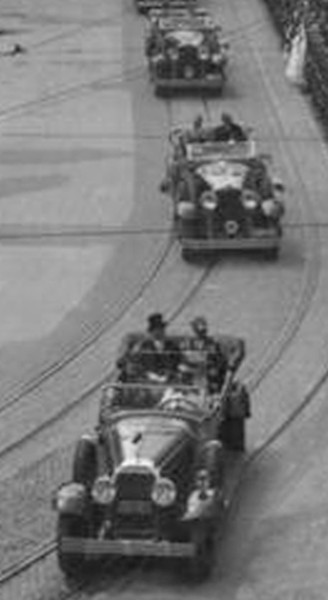 Blow-up of 1937 Krakow, Poland Parade Picture.  1929 Buick 7 passenger touring leads with King Carol II of Romania and Polish President, Ignacy Mościcki.