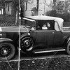 An early (both hubcaps and radiator cap) 54CC w/Artillery Wood Wheels and after market accessory search light.  Interesting also are the black-backed head and parking lights (should be chrome).  Taken in Elwood Indiana, Circa 1931-32.