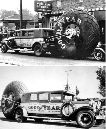 Goodyear Roilliung Promotional Vehicle using a 1929 Buick Flxible unit.