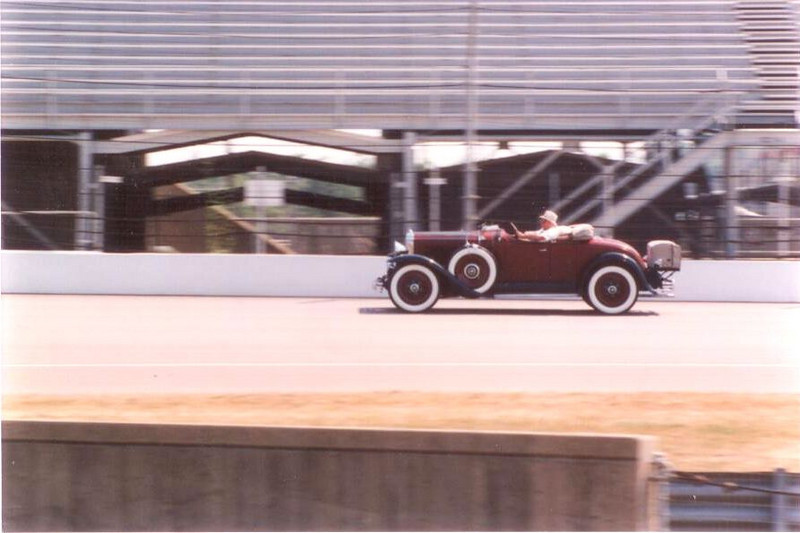 29 Buick roadster on track at Indy (1991).  Going 195 MPH slower than Mario Andretti.