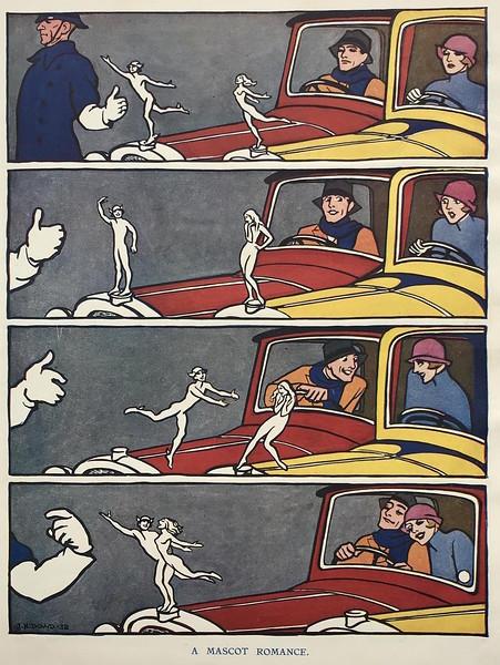 'Mascot Romance' - Cute 29 Buick Mercury Boy Mascot cartoon, in Punch Nov.7, 1932.