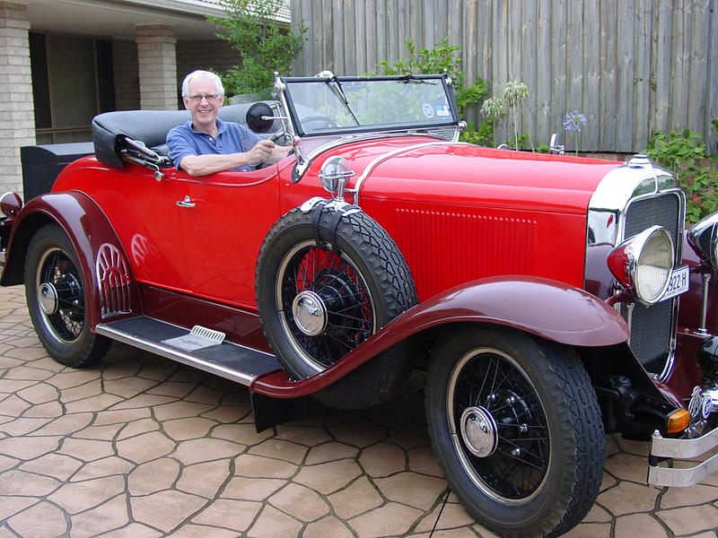 29-24.  Bill McL in John G.'s Australian roadster (circa 2007)