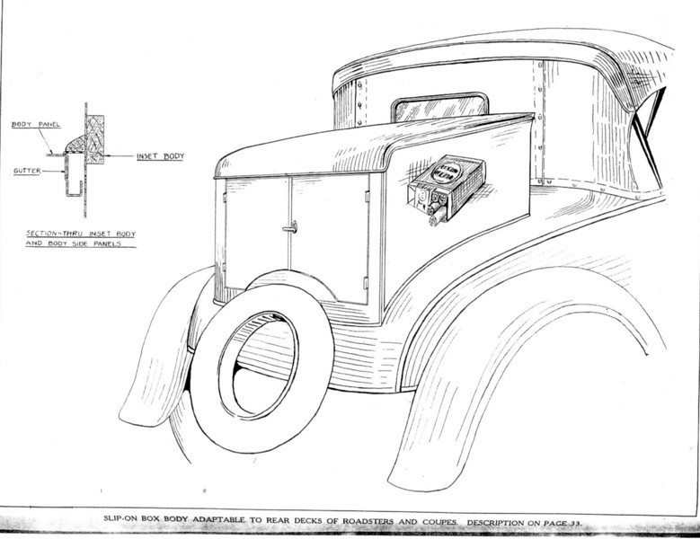 Slip-on Box conversion for roadsters and coupes (a la Andersen Window) allowing samples to be carried and vehicle easily converted back to a car.  (Thanks to Norm McKendry.)  Also, see write-up.