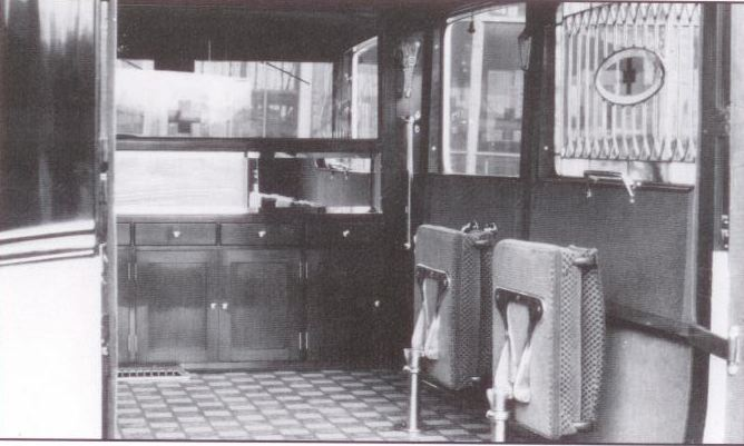 1929 Flxible-Buick Deluxe Ambulance interior (from: Flxible - Professional Vehicles: The Complete History)