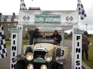Jan and Stijn van Gemert of Holland at the finish of the Flying Scotsman Rally in Scotland at the Glenneagels hotel.