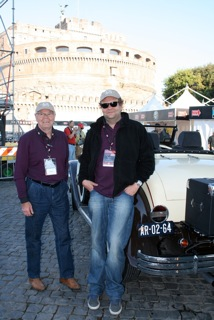 Navigator Stijn and driver Jan van Gemert, in Rome, with their 1929 Buick model 29-44 roadster, during the 2011 Mille Miglia.