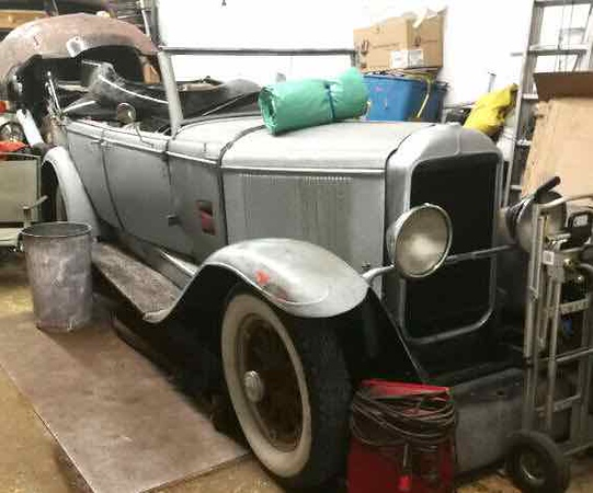 """29-49 (?) in Kijiji.  Described as a """"very rare car - 29 Buick McLaughlin - complete drive train & wooden wheels are restored - have most of the parts & manuals"""" (Ed. Note:  Seems to be a mixture of closed and open cars. Windshield is not off an open 29. Doors and / or cowl are not from an open 29. Slant of hood from cowl not right. Dash doesn't appear to be an open car dash. Back tub seems to curve up too much at rear. Gas tank filler nozzle is on wrong side.)"""