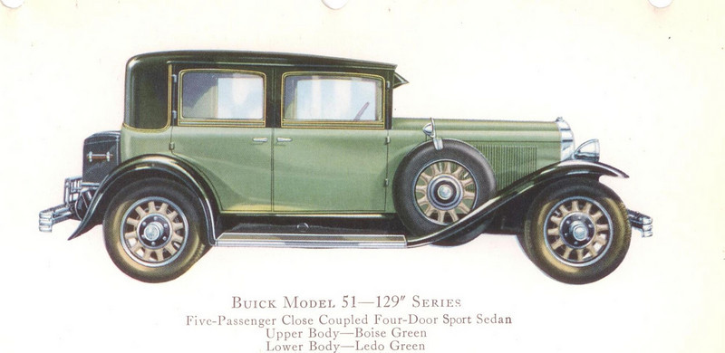"29-51 (129"" series) - five passenger, four door sport Sedan.  USA production: 7,014 + 105 X models (From:  The Buick A Complete History, 4th Edition)"