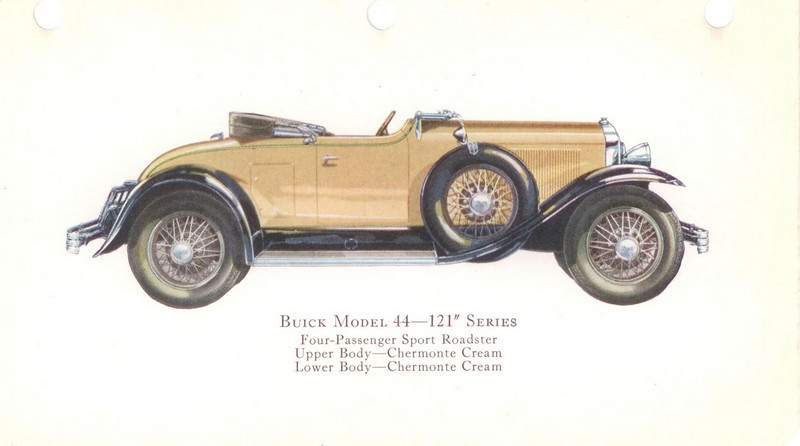 "29-44 (121"" series) - four passenger, sport Roadster.  USA production: 6,195 + 184 X models (From:  The Buick A Complete History, 4th Edition)"