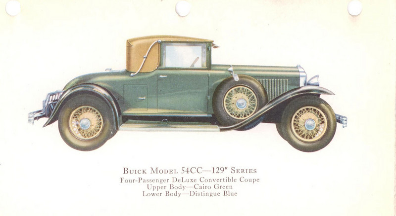 "29-54CC (129"" series) - four passenger, deluxe convertible Coupe.  USA production: 2,021 + 91 X models (From:  The Buick A Complete History, 4th Edition)"