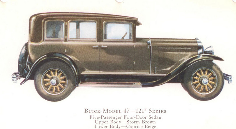 "29-47 (121"" series) - five passenger, four door Sedan.  USA production: 30,356 + 335 X models (From:  The Buick A Complete History, 4th Edition)"
