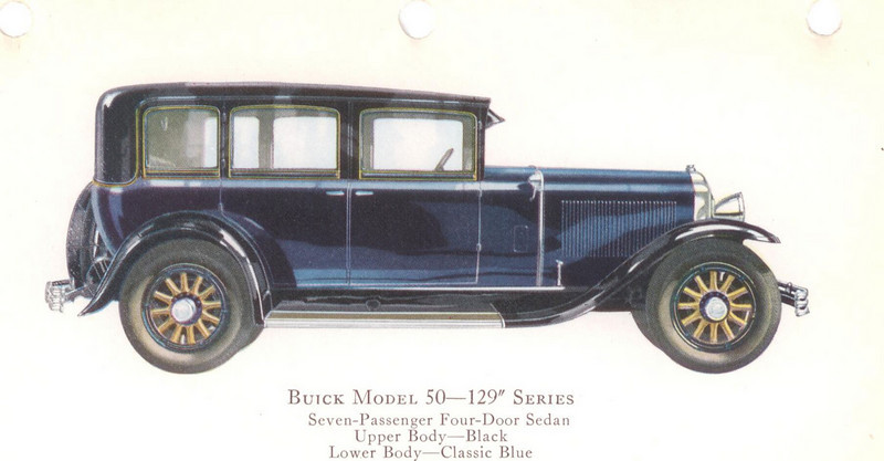 "29-50 (129"" series) - seven passenger, four door Sedan.  USA production: 8,058 + 319 X models (From:  The Buick A Complete History, 4th Edition)"