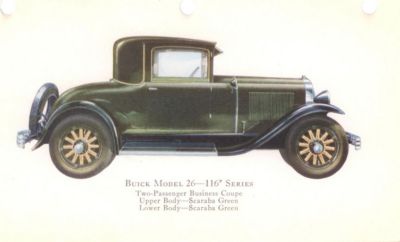 "29-26 (116"" series) - two passenger, business Coupe.  USA production: 8,745 + 1 X models (From:  The Buick A Complete History, 4th Edition)"
