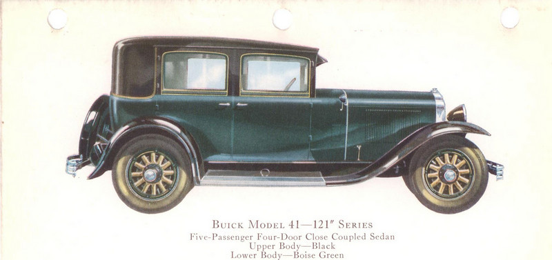 "29-41 (121"" series) - five passenger, four door close-coupled Sedan.   USA production: 10,110 (From:  The Buick A Complete History, 4th Edition)"