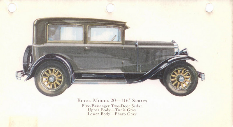 "29-20 (116"" series) - five passenger, two door Sedan.  USA production: 17,733 + 90 X models (From:  The Buick A Complete History, 4th Edition)"