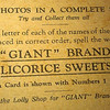 Back of Trade Swap Card issued by Giant Brand Licorice Sweets in Australia, circa 1929