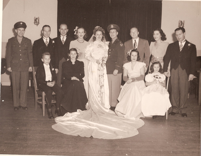 October 14, 1945 Jack and Helen Segal's Wedding - Back Row, left to right: Harry Segal, George Segal, Sidney & Ida Soreff, Helen & Jack Segal, Rusty & Estelle Segal, Charlie Segal; Front Row, left to right: Marty Segal, Francis Segal, Evelyne Segal, Jane Segal