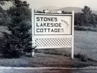 Original Stone's Camps sign, 1947