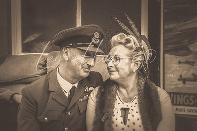 Vintage couple at 1940s railway station