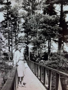 Wilma Stone on bridge to island, 1946
