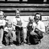 Jan (almost 3 1/2), Betty, Mary (almost 1), John (4 1/2), Bob (almost 2), Lois. Taken July 2, 1947 at NE Ranger Station where Elas were living. We were at West Yellowstone and spending the weekend with Elas. All 4 kids had on red cords and white shirts. I was just pregnant with Jeanie. We all went to Red Lodge that day and bought tricycles for Jan, John and Bob. Next day we all went fishing on the Yellowstone River where the kids caught (with help) their firt huge trout from the rapids.