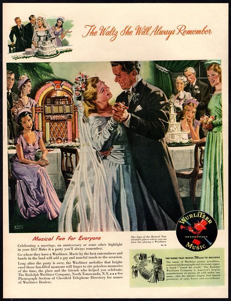 1947 Wurlitzer Jukebox Music Albert Dorne Art Wedding Wife Vintage Ad Ebay