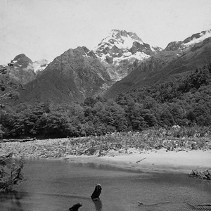 1951 up the Hollyford River  looking at Mt Madeline