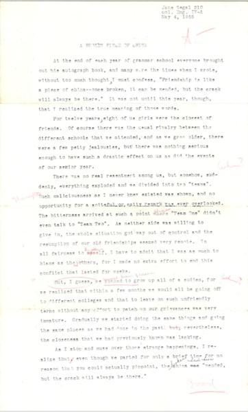 1955 Jane Segal High School Paper