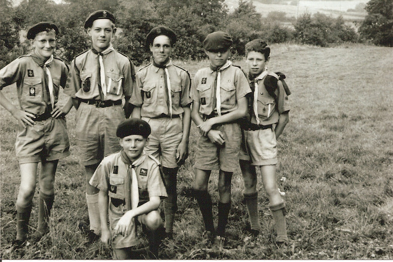 The Eagles at Summer Camp.<br /> Clockwise from left: Tony Humphreys, Malcolm Wigglesworth (Patrol Leader), Pat Churcher (RIP), Philip Reed, Mickey Howlett (Second), John Harvey.<br /> <br /> Malcolm's twin brother, Derek, was Patrol Leader of the Kestrels that year. Malcolm is wearing his Scout Cord on his right shoulder.<br /> <br /> Pat Churcher was the comedian and clown of the Troop for years. A close friend of Mickey H and Ron Reed, Pat was accidentally killed some years later.<br /> <br /> Philip Reed was the younger brother of Ron Reed of the Kestrels. Nobody could wear a beret like Philip.