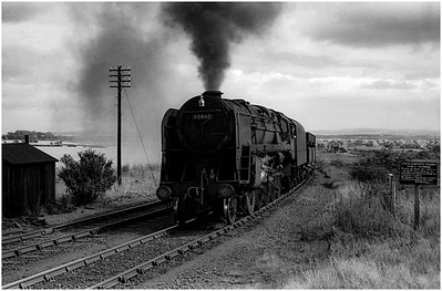 BR Standard 9F 92060 at West Pelton Station on an ore train for Consett.
