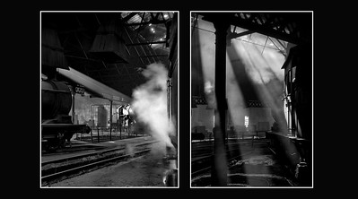 Beams of light stream into North Blyth MPD roundhouse.