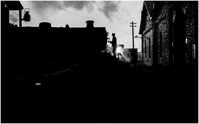 The Sun has just come up over North Blyth as a LMS 4MT locomotive has been 'ashed' and readied for the roundhouse.