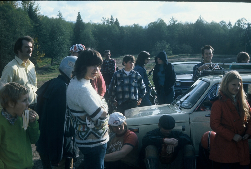 This was a trials near Orting at the Crater. The girls with trials bikes had to ride in the novice class against the guys with non trials bikes. That didn't stop the girls from winning all the gold.. That's Mel Paulson sitting on the ground with his hands crossed.