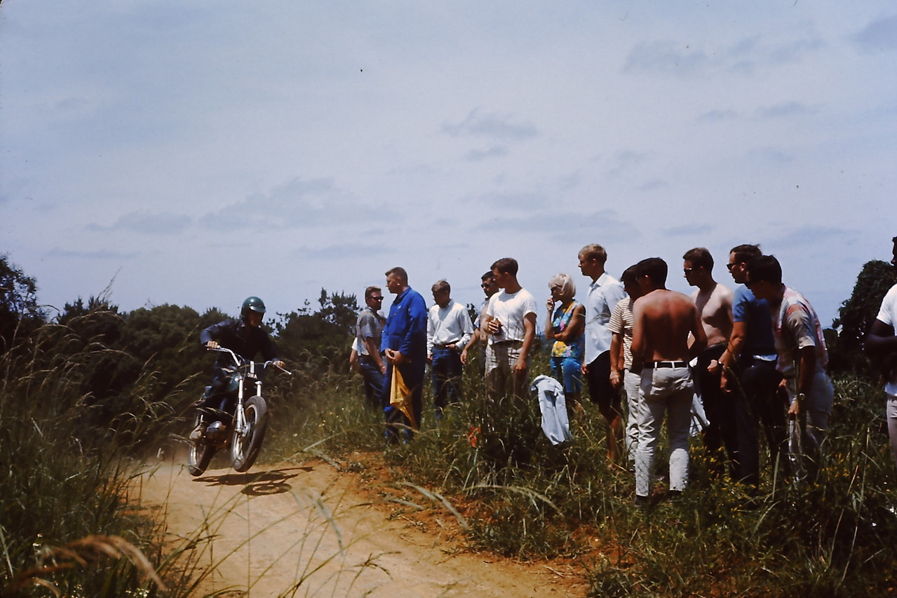 Larry on his Bultaco Pursang and our whole Tech Control Crew. We handled all the communications to the South Pacific...