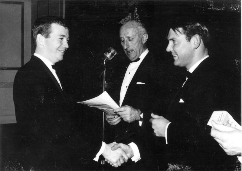 1964<br /> Portsea Presentation Night<br /> L-R<br /> Norm Adams (Winner Lomdon Bridge Run & Malibu Board Race)<br /> Mil Napthine (President)<br /> Gus Milligan (Club Captain)