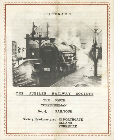 Itinerary 1: Welcome aboard!   The South Yorkshireman No 6 tour was organised by the Jubilee Rly Society.  It ran on 24 September 1966 from Bradford Forster Square via Ais Gill and Beattock to Glasgow Central (both ways.  It was hauled throughout by Julbilee 45565 Victoria.  The fare was £3 5s 0d (£3.25) - say £100 at 2006 prices - with a 10s (50p) reduction for juveniles.  To make a day of it, the tour included visits to Kingmoor, Polmadie and Eastfield sheds!
