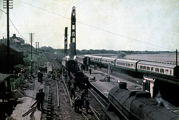 Hest Bank accident, 20 May 1965 1.  The 1V42 2210 Glasgow - Kensington Olympia sleeper was partially derailed by a broken rail just north of the station at about 0220.  The nine rear coaches were derailed but not D1633 and the first three coaches.  Mercifully there were no fatalities and only eleven minor injuries.  This photo shows the breakdown cranes from Lostock Hall and Kingmoor clearing the line, probably on 21 May.  NB the camping carriages at right, a familiar feature at Hest Bank for many years.  Photo by Bill Moorby.