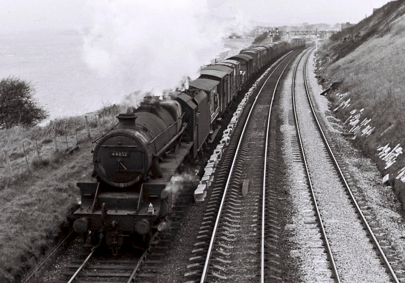 44852, Hest Bank, 25 March 1967 1.   The freight heads towards Bare Lane and Heysham.  The Black 5 was withdrawn in September.