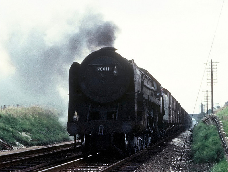70011, Bolton-le-Sands, August 1967.  The former Hotspur heads south towards the troughs.  It was withdrawn in December 1967 with all the other surviving Britannia Pacifics.